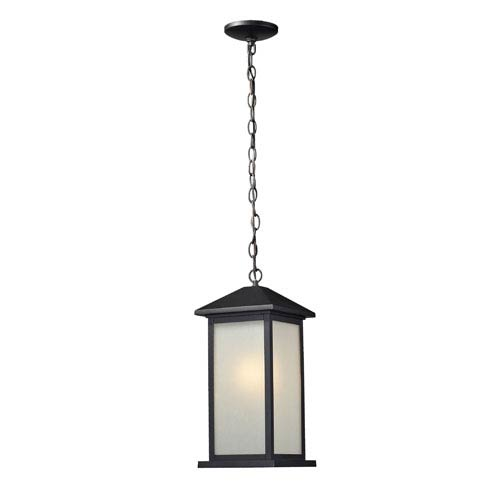 Z-Lite Vienna One-Light Medium Black Outdoor Chain Pendant Light with White Seedy Glass Panels