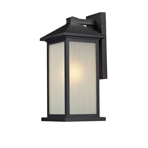 Z-Lite Vienna One-Light Medium Black Outdoor Wall Mount with White Seedy Glass Panels