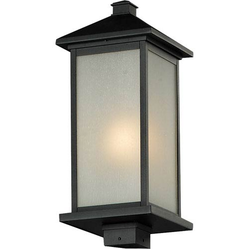 Z-Lite Vienna One-Light Large Black Outdoor Post Mount Light with White Seedy Glass Panels