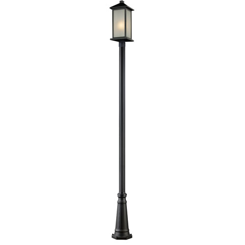 Z-Lite Vienna One-Light Black Outdoor Post Light with White Seedy Glass Panels