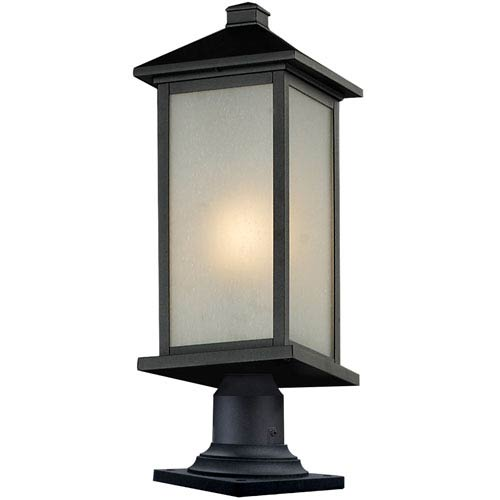 Z-Lite Vienna One-Light Large Black Outdoor Pier Mount with White Seedy Glass Panels