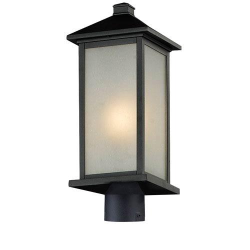 Z-Lite Vienna One-Light Medium Black Outdoor Post Head Light with White Seedy Glass Panels