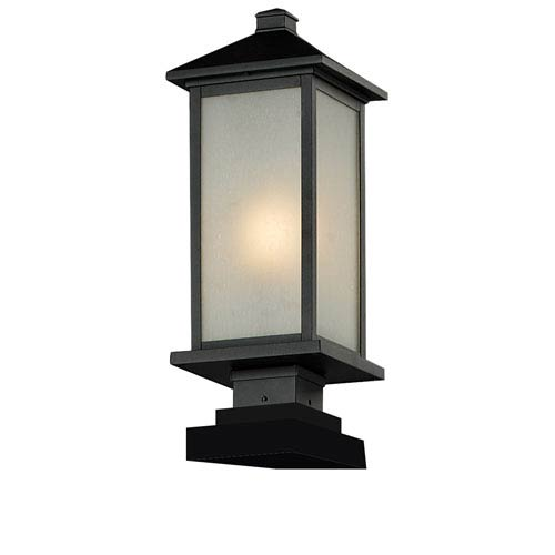 Z-Lite Vienna One-Light Medium Black Outdoor Pier Mount Fixture with White Seedy Glass Panels