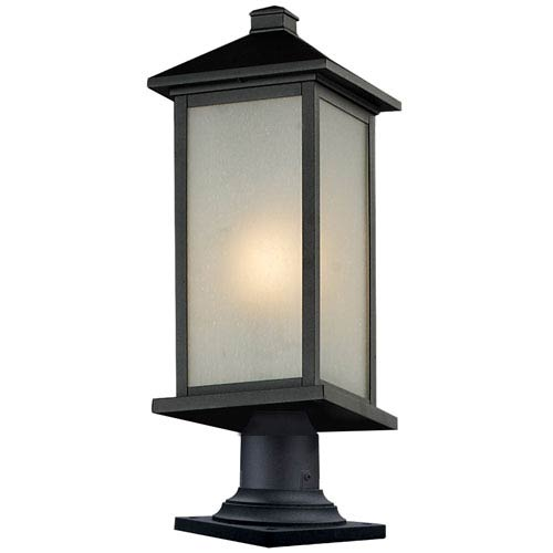 Z-Lite Vienna One-Light Medium Black Outdoor Pier Mount with White Seedy Glass Panels