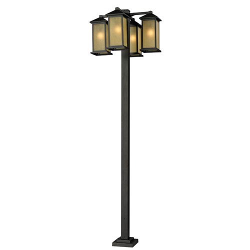 Z-Lite Vienna Four-Light Oil Rubbed Bronze Four-Head Outdoor Post Fixture with Tinted Seedy Glass Panels