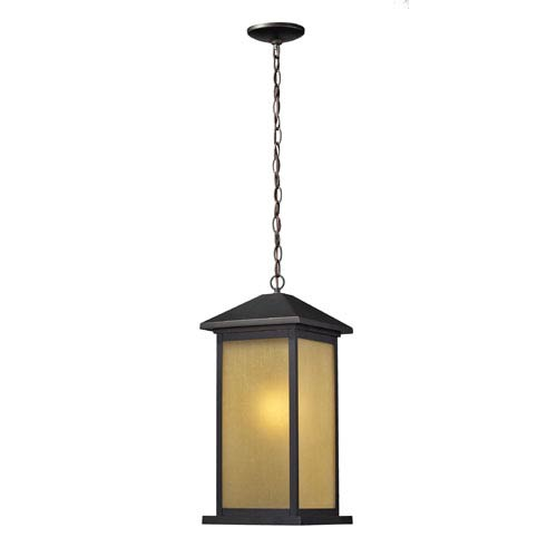 Z-Lite Vienna One-Light Large Oil Rubbed Bronze Outdoor Chain Pendant Light with Tinted Seedy Glass Panels