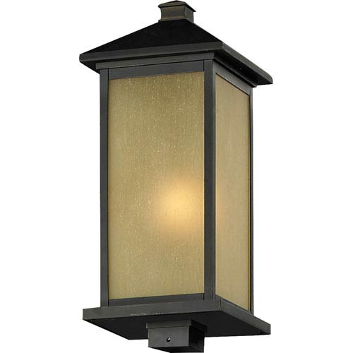 Z-Lite Vienna One-Light Large Oil Rubbed Bronze Outdoor Post Mount Light with Square Base and Tinted Seedy Glass Panels