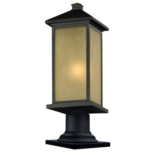 Z-Lite Vienna One-Light Large Oil Rubbed Bronze Outdoor Pier Light with Round Base and Tinted Seedy Glass Panels