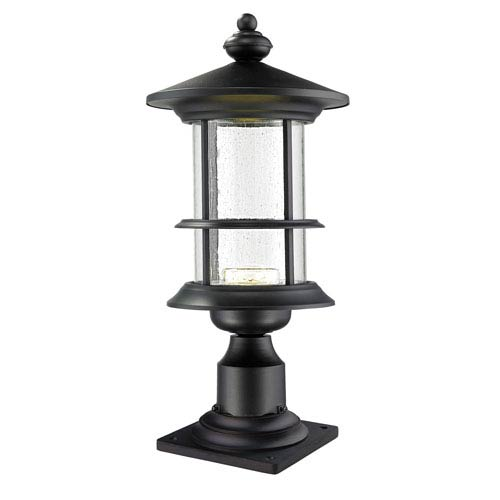 Genesis Black 9.5-Inch One-Light LED Pier Mount with Clear Seedy Glass