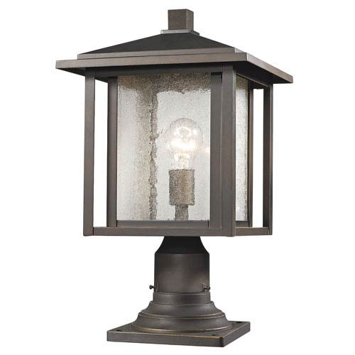 Aspen Oil Rubbed Bronze 18-Inch One-Light Outdoor Pier Mount Light with Clear Seedy Glass Shade