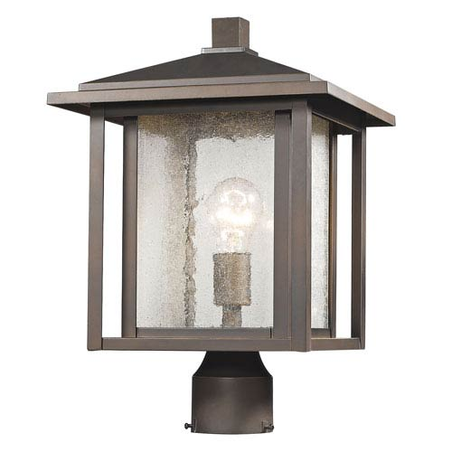 Aspen Oil Rubbed Bronze 16-Inch One-Light Outdoor Pier Mount Light with Clear Seedy Glass Shade