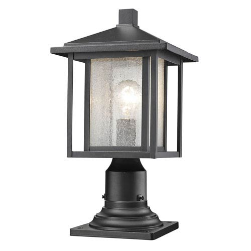 Aspen Black 17-Inch One-Light Outdoor Pier Mount Light with Clear Seedy Glass Shade