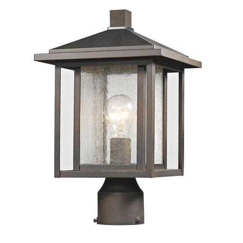 Aspen Oil Rubbed Bronze 15-Inch One-Light Outdoor Pier Mount Light with Clear Seedy Glass Shade