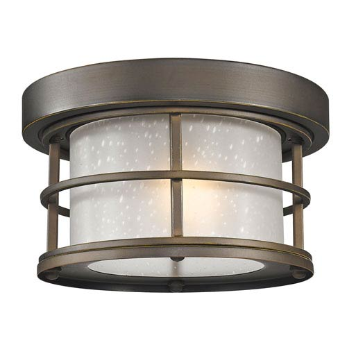 Exterior Additions Oil Rubbed Bronze 10-Inch One-Light Outdoor Ceiling Light with Frosted Seedy Glass Shade