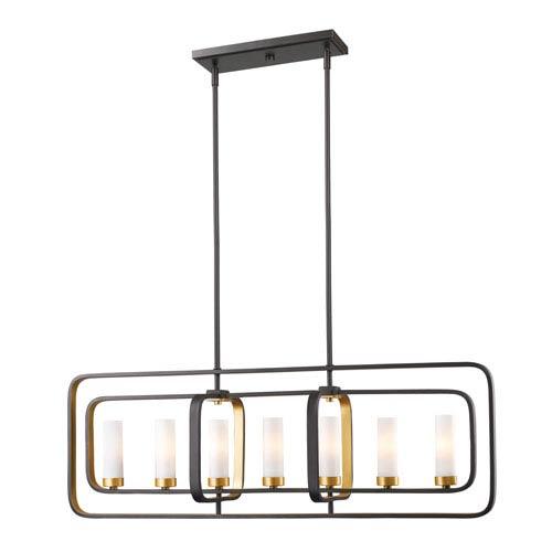 Z-Lite Aideen Bronze Gold Seven-Light Linear Pendant