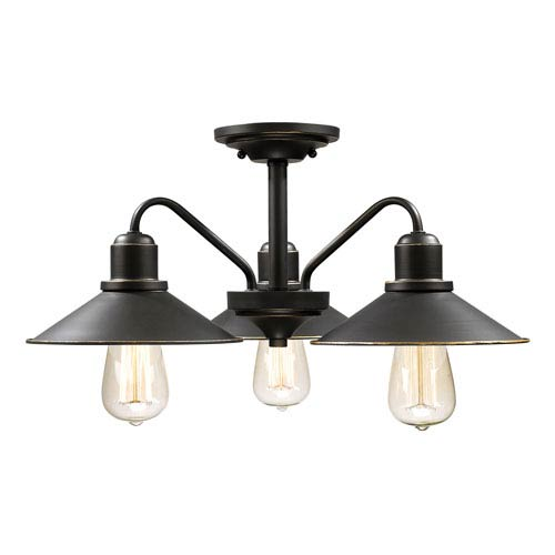 Casa Olde Bronze Three-Light Outdoor Semi-Flushmount