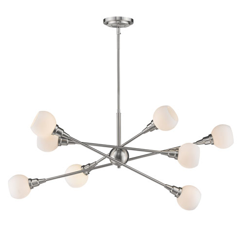 Tian Brushed Nickel 45-Inch Eight-Light LED Pendant