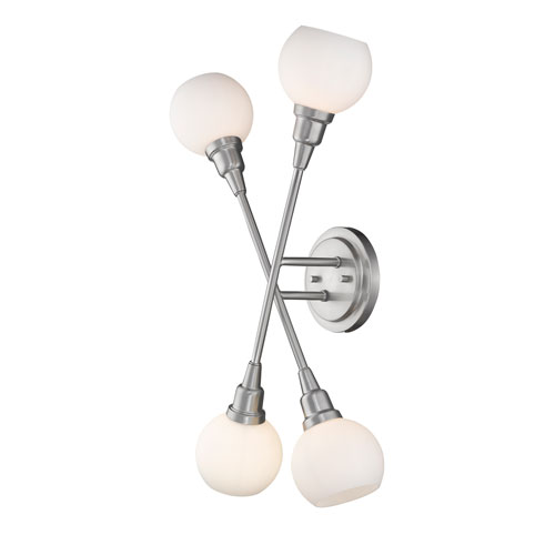 Tian Brushed Nickel 12-Inch Four-Light LED Wall Sconce
