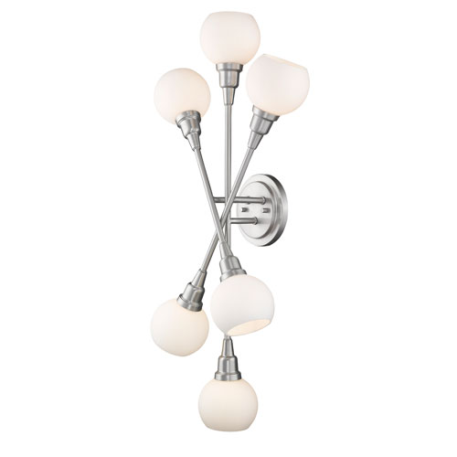 Z-Lite Tian Brushed Nickel 15-Inch Six-Light LED Wall Sconce