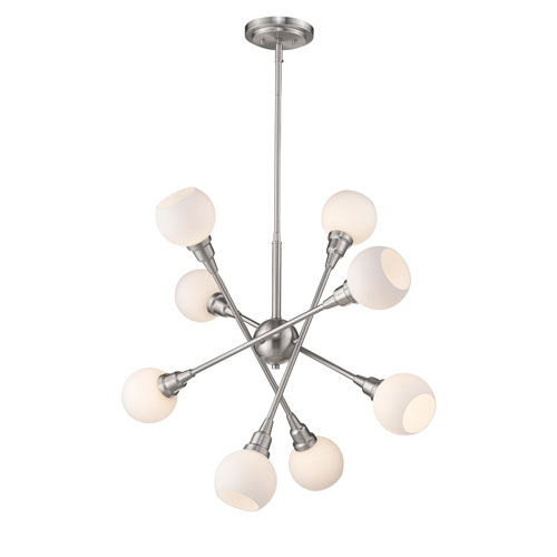 Tian Brushed Nickel 29-Inch Eight-Light LED Pendant
