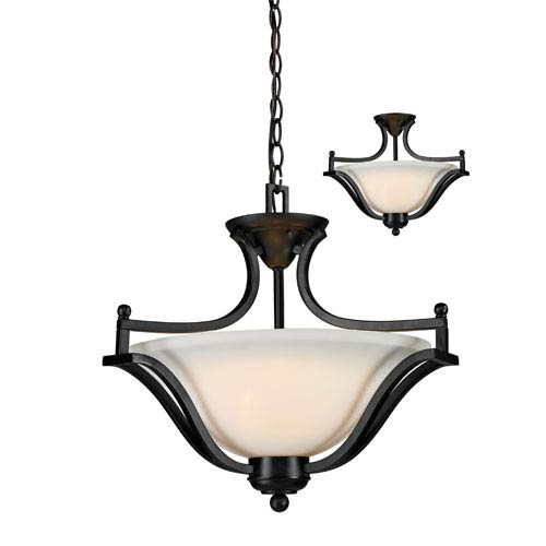 Z-Lite Lagoon Three-Light Bronze Convertible Pendant with Matte Opal Glass Shade