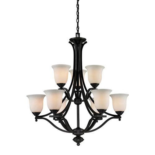 Lagoon Nine-Light Matte Black Chandelier with Matte Opal Glass Shades