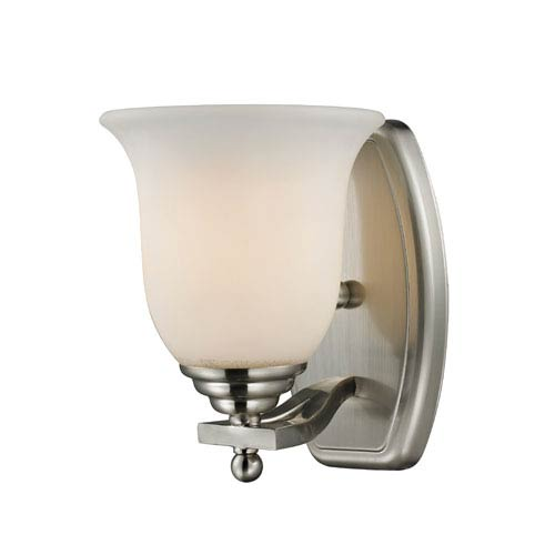 Z-Lite Lagoon One-Light Brushed Nickel Vanity Light with Matte Opal Glass Shade
