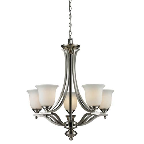 Z-Lite Lagoon Five-Light Brushed Nickel Chandelier with Matte Opal Glass Shades