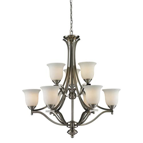 Z-Lite Lagoon Nine-Light Brushed Nickel Chandelier with Matte Opal Glass Shades
