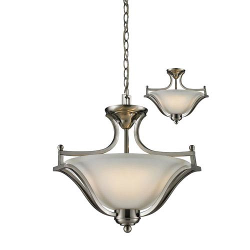 Z-Lite Lagoon Three-Light Brushed Nickel Convertible Pendant with Matte Opal Glass Shade