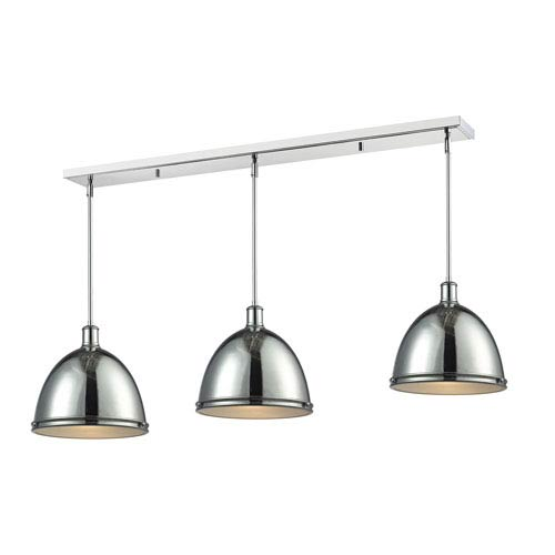 Mason Chrome 55-Inch Three-Light Billiard Pendant with Chrome Shades