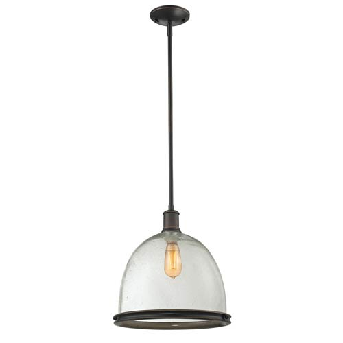 Mason Seedy Olde Bronze One-Light Pendant with Clear Glass Shade