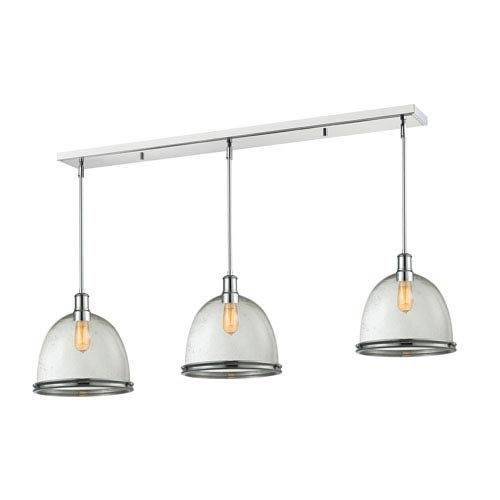 Mason Chrome 55-Inch Three-Light Billiard Pendant with Clear Seedy Glass