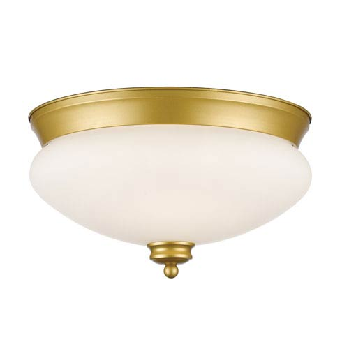Amon Satin Gold 13-Inch Two-Light Flush Mount