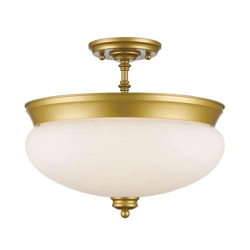 Amon Satin Gold Three-Light Semi Flush Mount