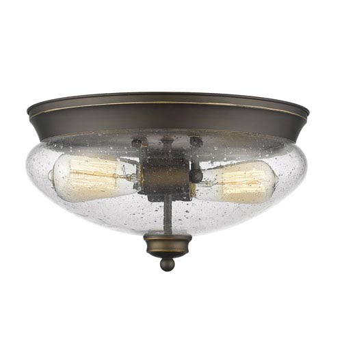 Z-Lite Amon Olde Bronze Two-Light Flush Mount with Clear Seedy Glass
