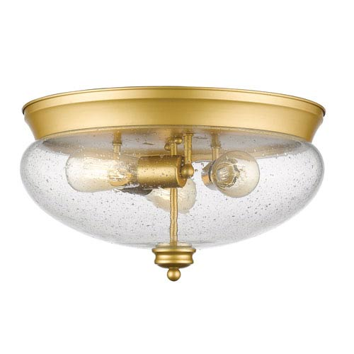 Amon Satin Gold Three-Light Flush Mount with Clear Seedy Glass
