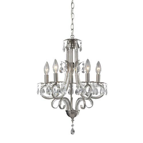 Pearl Five-Light Brushed Nickel Tall Mini Chandelier with Clear Crystals