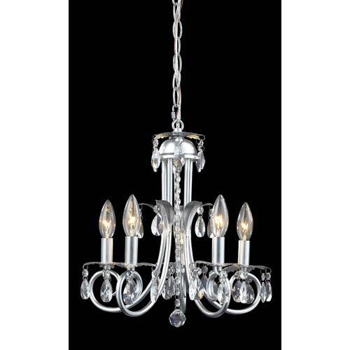 Z-Lite Pearl Silver Five-Light Crystal Mini Chandelier