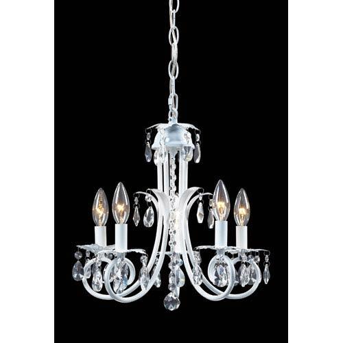 Pearl White Five-Light Crystal Mini Chandelier