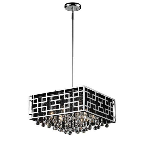 Mirach Six-Light Chrome Pendant with Black String Shade and Strung Crystals