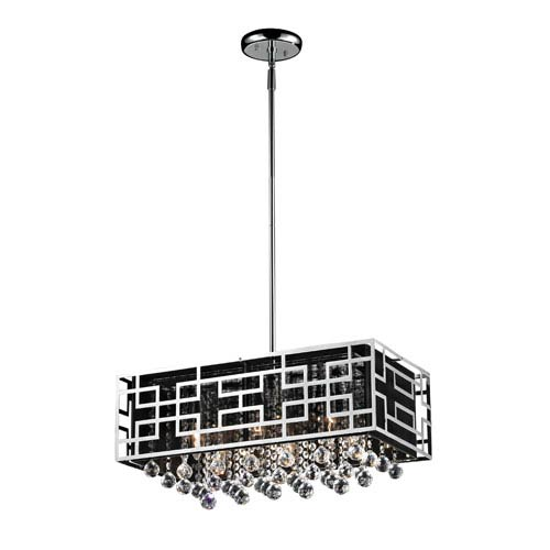 Mirach Six-Light Chrome Island Pendant with Black String Shade and Strung Crystals