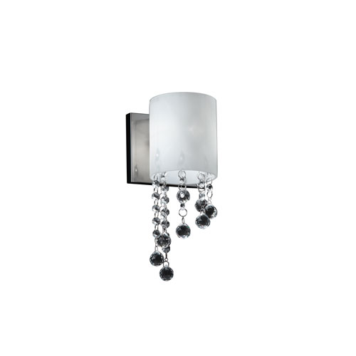 Z-Lite Jewel One-Light Chrome Wall Sconce with Matte Opal Glass Shade and Crystal Bead Droplets