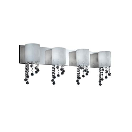 Jewel Four-Light Chrome Vanity Fixture with Matte Opal Glass Shades and Crystal Bead Droplets