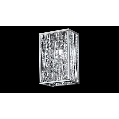 Z-Lite Terra One-Light Chrome Wall Sconce with Silver Aluminum Shade and Crystal Accents