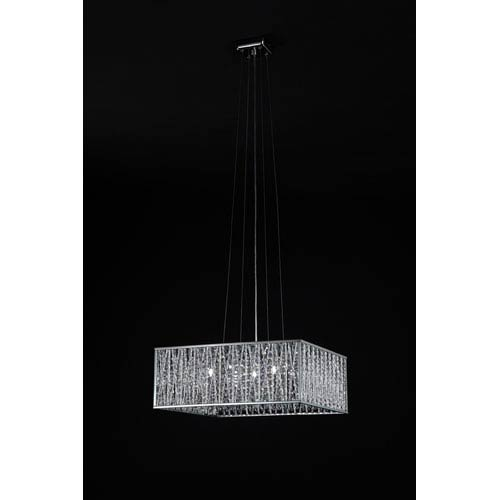Z-Lite Terra Five-Light Chrome Pendant with Silver Aluminum Shade and Crystal Accents