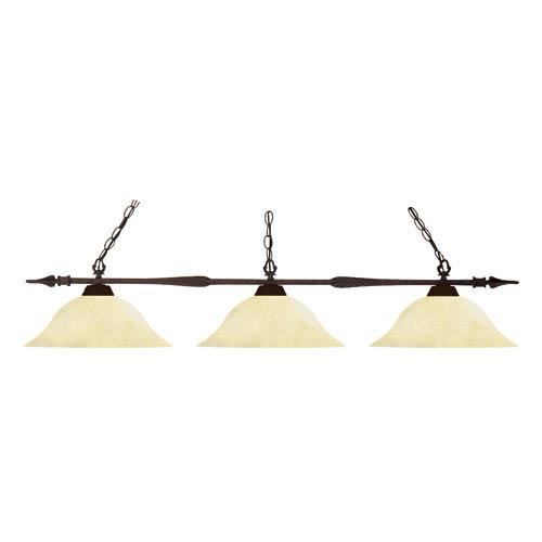 Z-Lite Aztec Bronze Three Light Billiard Fixture