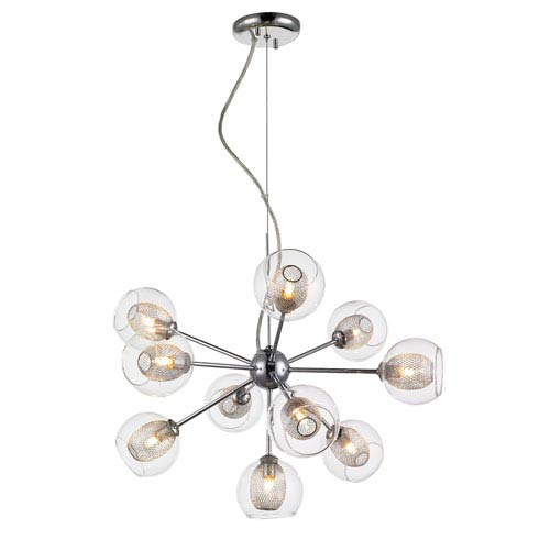 Auge Chrome Ten-Light Starburst Chandelier with Clear Glass and Iron Mesh Shades