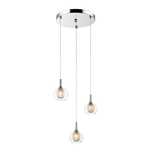 Auge Chrome Three-Light Pendant with Clear Glass and Iron Mesh Shades