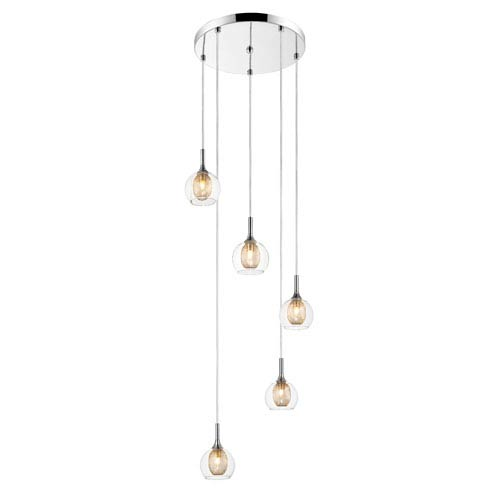 Auge Chrome Five-Light Pendant with Clear Glass and Iron Mesh Shades